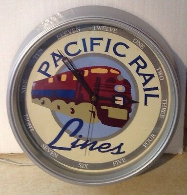 """Pacific Rail Lines 11"""" Battery Operated Wall Clock great graphics and hands"""