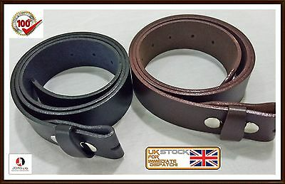Men,s Genuine 100% Real Leather Belt Snap On Strap Without Buckle Belt Snaps