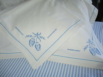 Vintage French Metis Pillow-shams Pillowcases Pretty Blue Tulip Embroidery PAIR