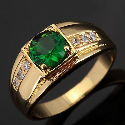 Popular Halo 18K Gold Plated Ring Emerald Fashion Jewelry Wedding Rings for Mens