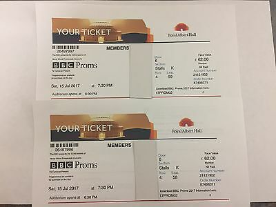 Bbc Proms 2 Tickets X 2 Royal Albert Hall Saturday 15Th July 2017