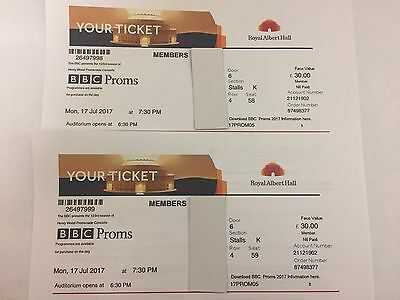 Bbc Proms 5 Tickets X 2 Royal Albert Hall Monday 17Th July 2017