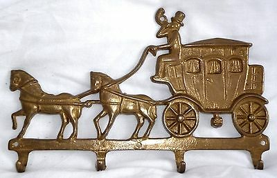 """Vintage Brass    """" Coach And Horses """"   Four Hook Key Holder"""