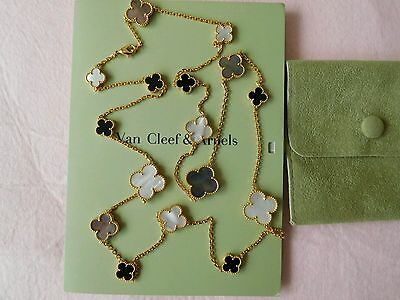 Authentic Van Cleef & Arpels 18k Yellow Gold Turquoise Vintage Alhambra Necklac
