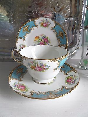 Shelley duchess blue trio/cup/saucer and side plate 13403