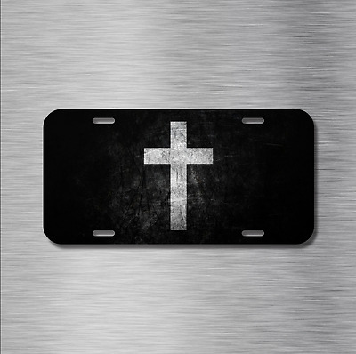 Jesus Cross Vehicle License Plate Front Auto Tag Plate Christian Peace B&W NEW!
