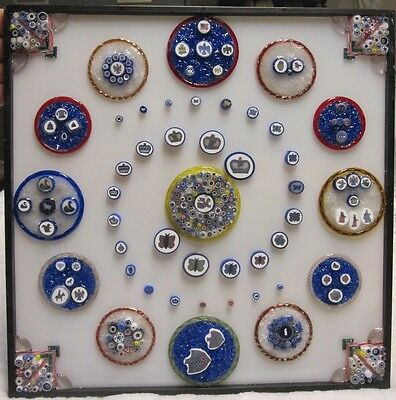 Whitefriars picture canes in shadow box + millefiori