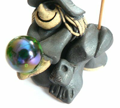 Witch with Black Cat & Green Crystal Ball ~ Black Ceramic Incense Holder