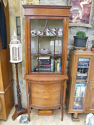Antique-Victorian-Rosewood/Maple Venner/Inlaid Display Case With Cupboard-c1880s