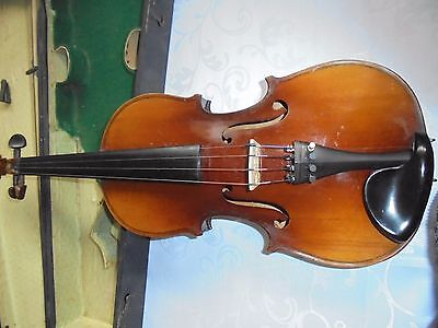 Vintage Full Size Violin, Bow And Case.