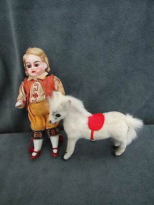 "Tiny Jtd 4"" All Bisque Boy And Horse Marked Handwork Germany"