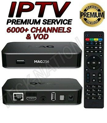 MAG 256 IPTV Box + 12 Month Subscription 6000+ Channels & VOD (BEST ON EBAY!!)