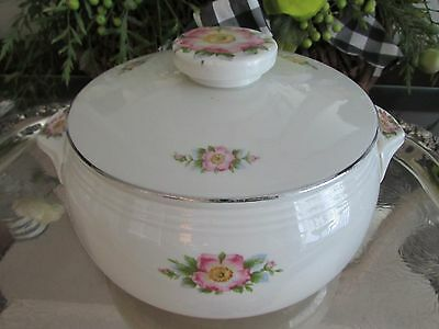 "10"" Halls Soup Pot Tureen COVERED CASSEROLE Dish ROSE WHITE Shabby Chic Cottage"
