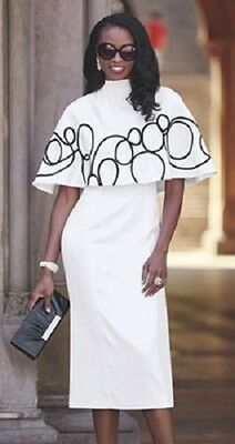 Cape Jacket Dress Ashro White Black Formal Wedding Mother of the Bride Church
