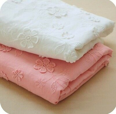 Cotton Lace Fabric 3D Flower Embroidered Girls Dress Fabric Sewing DIY Craft 51""