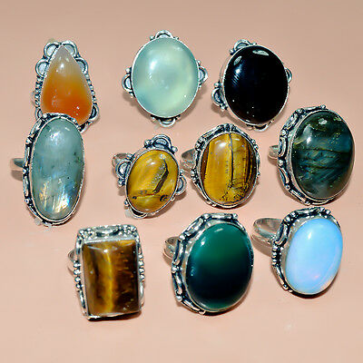 Classy Gemstone Designer 10  Pc Silver Plated Wholesale Ring Lot M1135