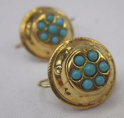 Antique Victorian 9ct Gold Etruscan & Turquoise Hook Earrings 1871