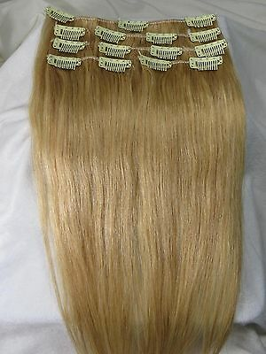 """New 15"""" Clip In RemyReal Human Hair Extensions Straight 75g #24 Natural Blonde"""