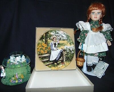 Anne Of Green Gables Musical Snow Globe, Collectors Plate, & Doll