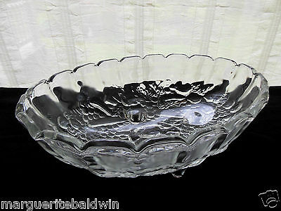 Indiana Glass Clear Garland Happenings Oval 4 Toed Center Fruit Bowl