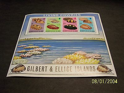 Gilbert/Ellice Islands 1975 Living Cowries/Empty Shells sou. sht. of 4 MNH-OG