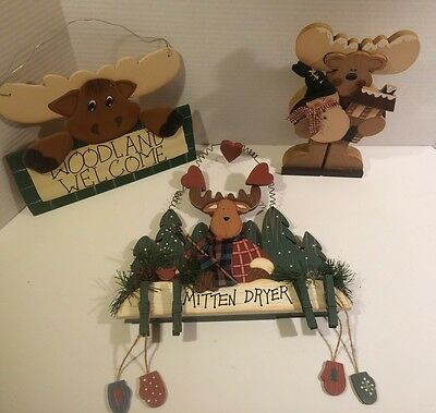 3 Wooden Crafted Moose Decorations Welcome Sign Wall Hanging Winter Cabin Decor