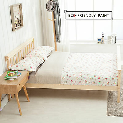 New Double Wooden Bed Frame in Natural Bedroom Furniture