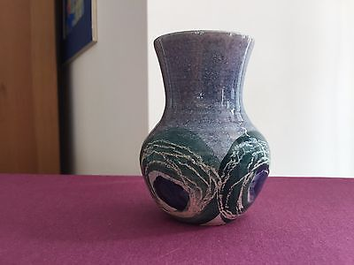 Jo Lester IOW Isle of Wight Pottery Ribbed Vase Blue and green sgraffito Swirls