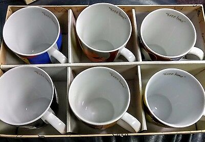 Sarica Free Time Modern Art Coffee Tea Cocoa Mug authentic set of 6 never used.