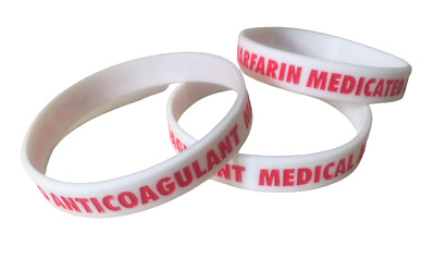 Warfarin Anticoagulant Medical Alert Silicone Wrist Band Bracelet UK SELLER