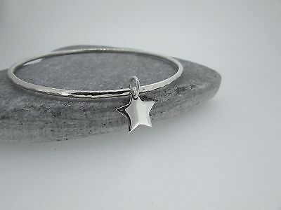Handmade Hammered Sterling Silver Bangle With Star Charm 7cm