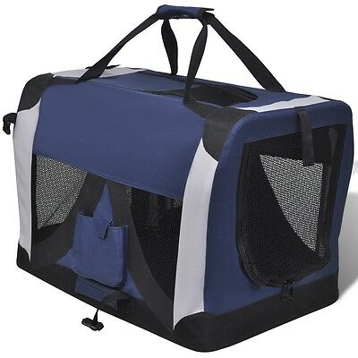 L Portable and Foldable Pet Carrier with Windows Dog Cat Rabbit Travel Cage