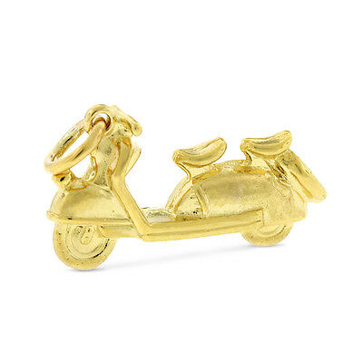 Vintage Delivery Motor Scooter Charm In Solid 14k Yellow Gold 4.2 Grams