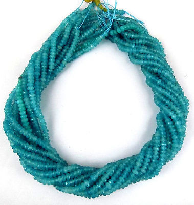 """5 Strands Apatite Chalcedony Gemstone Faceted Rondelle Beads Bead 4mm 13.5"""" Long"""