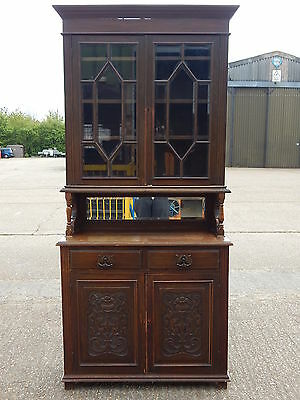Antique Edwardian solid oak tall bookcase dresser wall unit with glazed doors