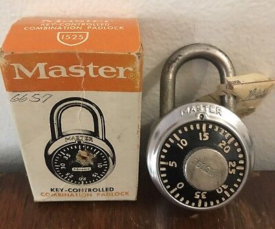 Master Combination Padlock Vintage Lock #1525 in Box MADE IN MILWAUKEE, WI USA