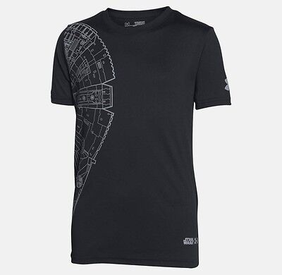 NWOT Men's Under Armour Loose Fit Workout Sports Shirt Small Star Wars Black