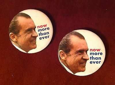 "TWO 1972 RICHARD NIXON 3"" Pinback Portait Button Presidential NOW MORE THAN EVER"