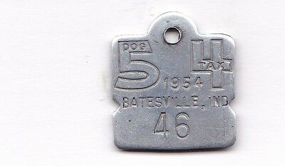 Batesville, IND. 1954 dog license tax tag, NUMERAL #46