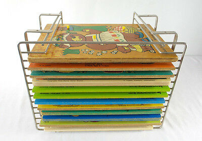 12 Vintage Wood Puzzles with Holder Connor Judy Instructo Playskool Fisher Price