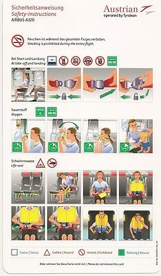 Austrian operated by Tyrolean Safety Card Airbus A320 Rev. 3