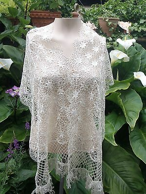160cms long Antique Cream Shimmering Silk Maltese Lace Lappet Mantilla French