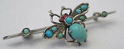 Antique Victorian Pave Persian Turquoise Sterling Silver Bee Insect Brooch Pin