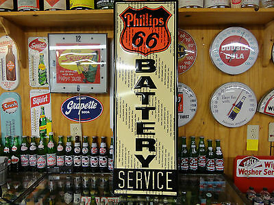 Phillips 66 Modern Embossed Battery Service Sign Made Usa Licensed By Phillips66
