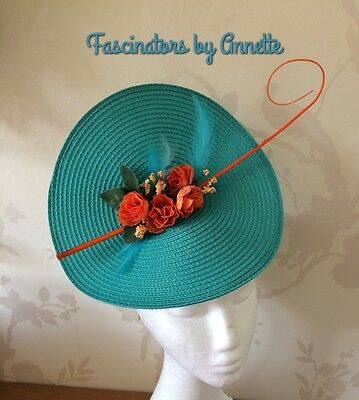 Turquoise woven straw and orange. fascinator Weddings Races ladiesdays
