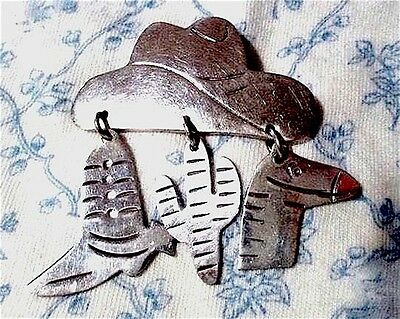 TAXCO Estate 80s Sterling COWBOY HAT charm dangles Boot Cactus Horse BROOCH pin