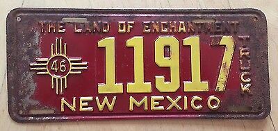 "1946 New Mexico Truck License Plate "" 11917 "" Nm 46 All Original Condition"