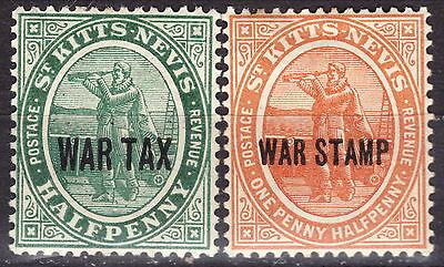 St Kitts-Nevis MH 1916 War Tax Stamps