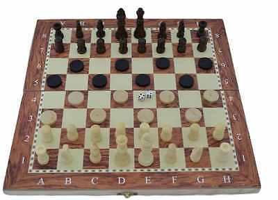 3 IN 1 Natural Wooden Folding Chess - Checkers - backgammon Game Set 47cm x 48cm