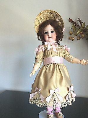 Antiquejumeau Style Dress And Straw Bonnet  For Antique French German Doll